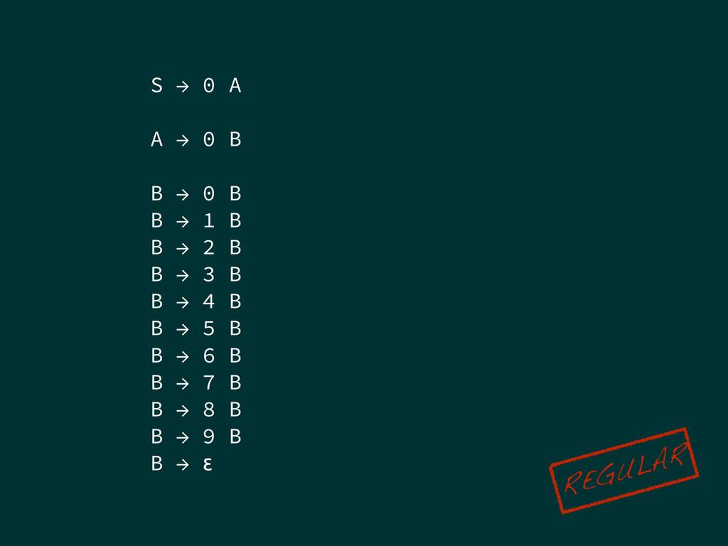 S → 0 A ! A → 0 B ! B → 0 B B → 1 B B → 2 B B →...