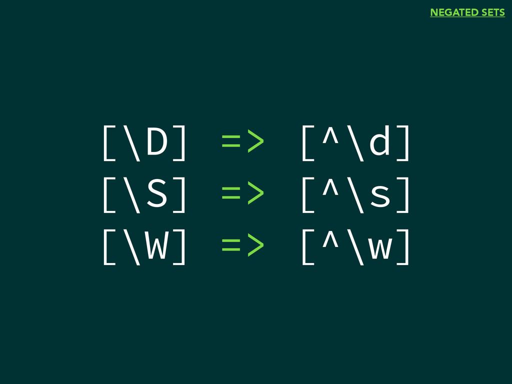 NEGATED SETS [\D] => [^\d] [\S] => [^\s] [\W] =...