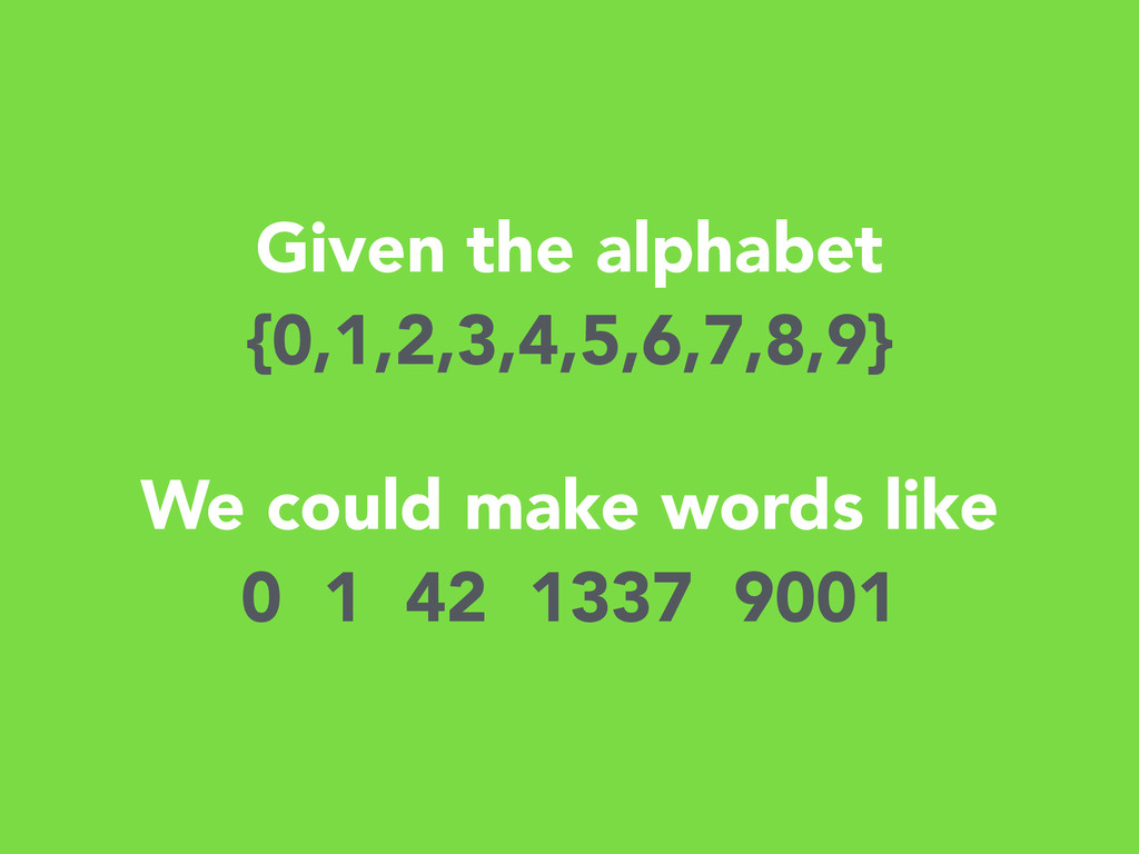 Given the alphabet {0,1,2,3,4,5,6,7,8,9} ! We c...