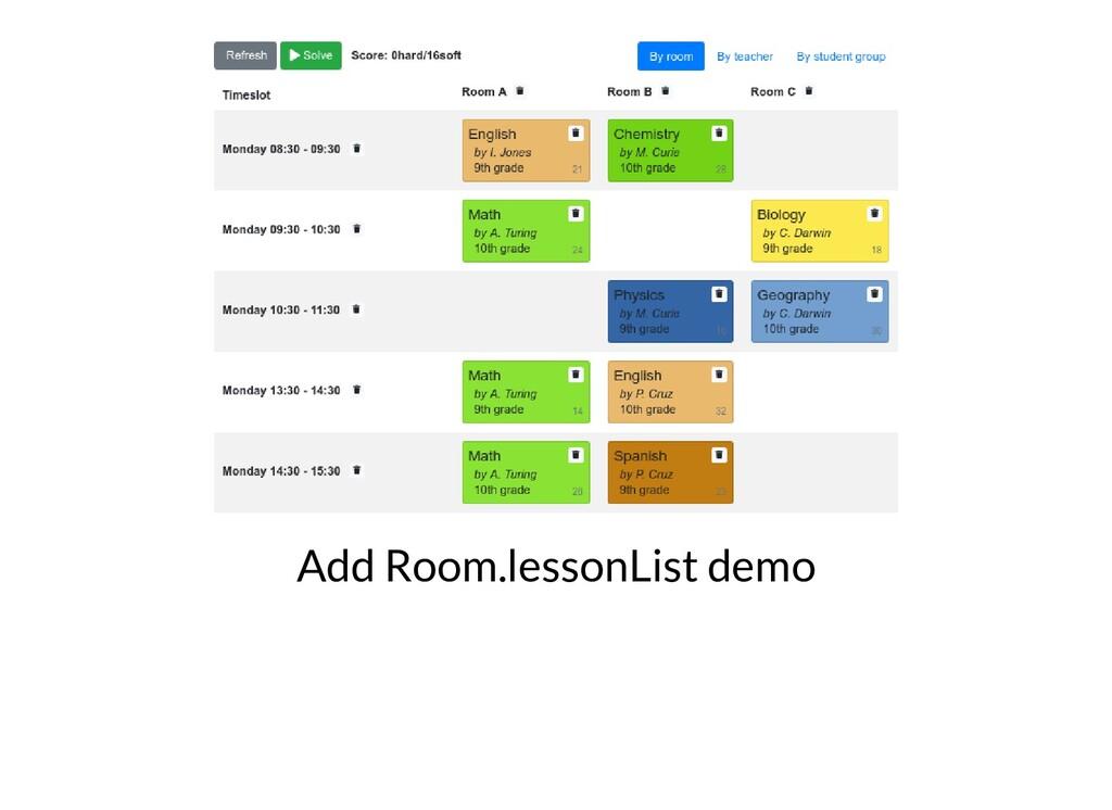 Add Room.lessonList demo