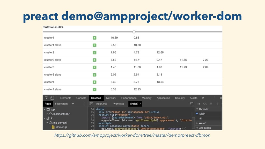 preact demo@ampproject/worker-dom https://githu...