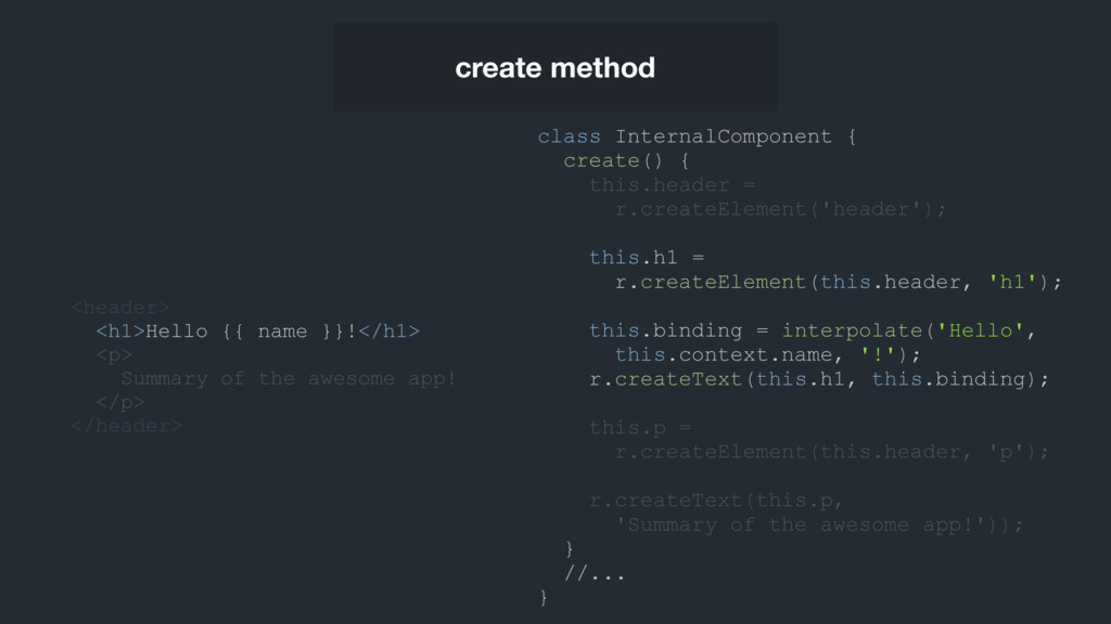 class InternalComponent { create() { this.heade...