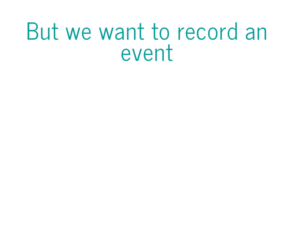 But we want to record an event