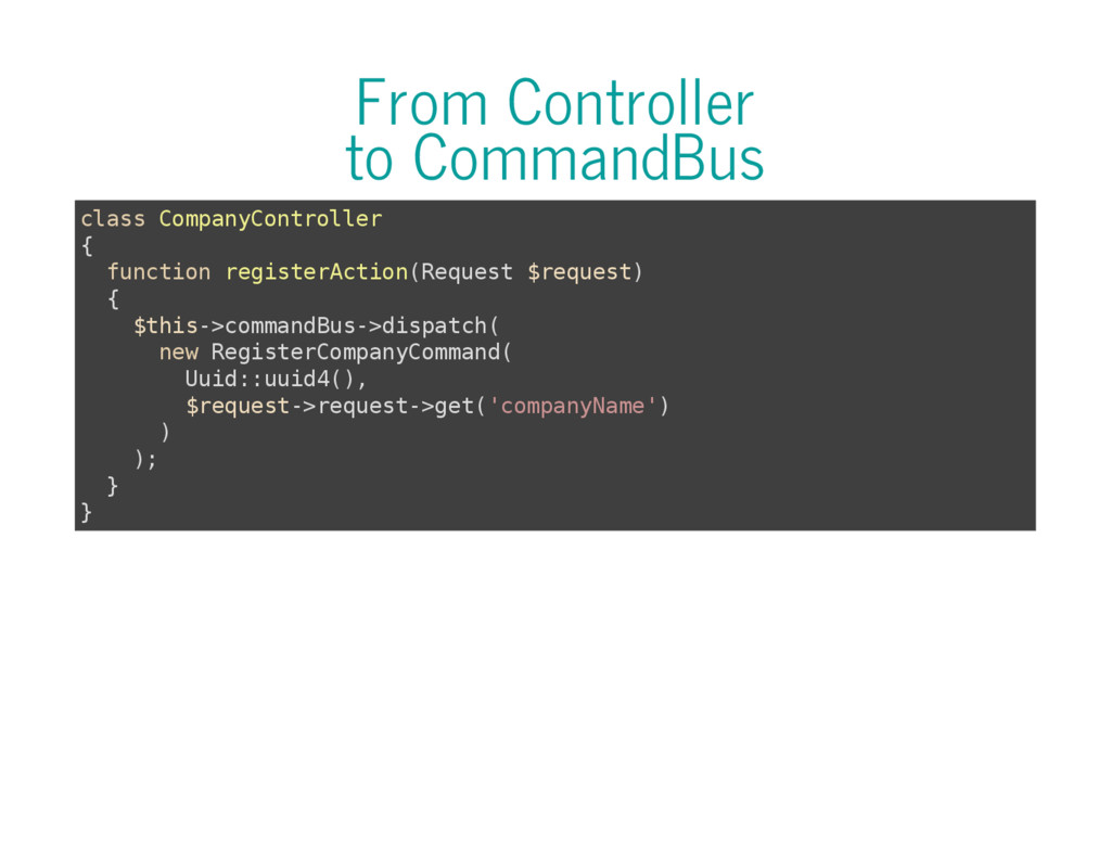 From Controller to CommandBus c l a s s C o m p...