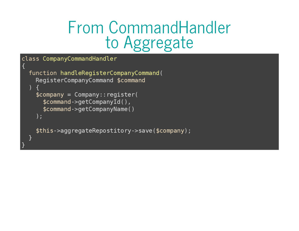 From CommandHandler to Aggregate c l a s s C o ...