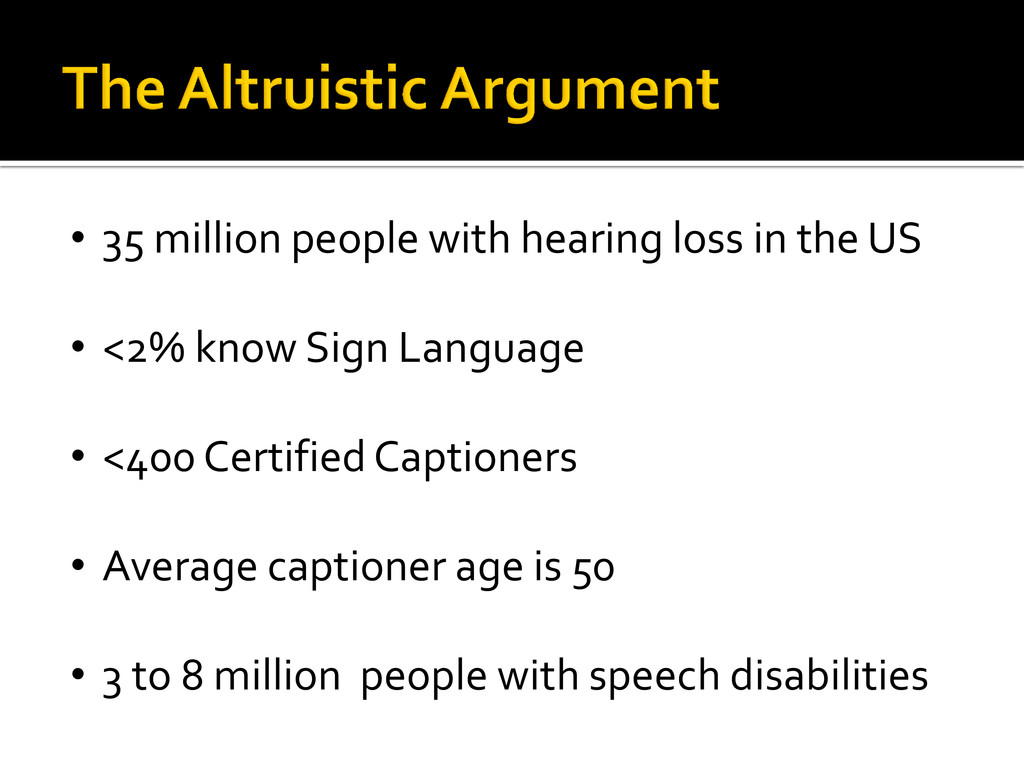 • 35 million people with hearing loss in the US...
