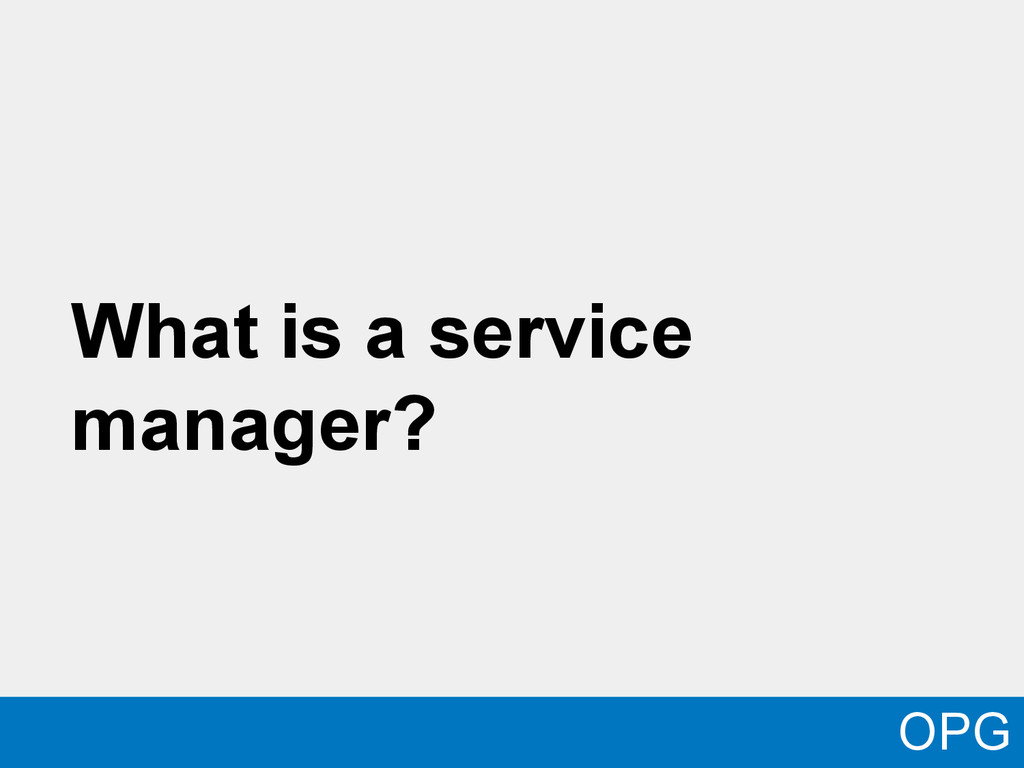 What is a service manager? OPG