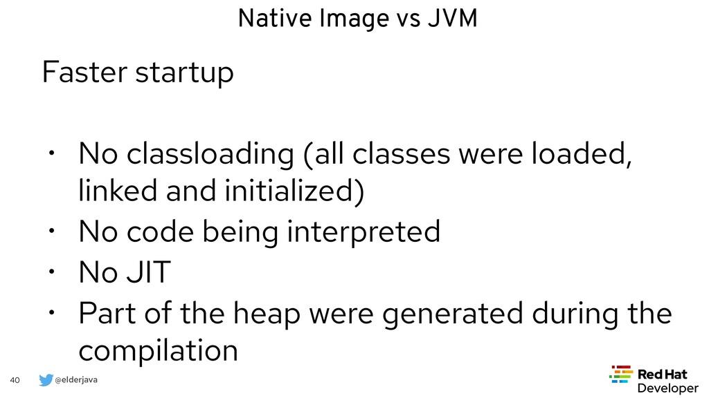@elderjava 40 Faster startup   • No classloadin...