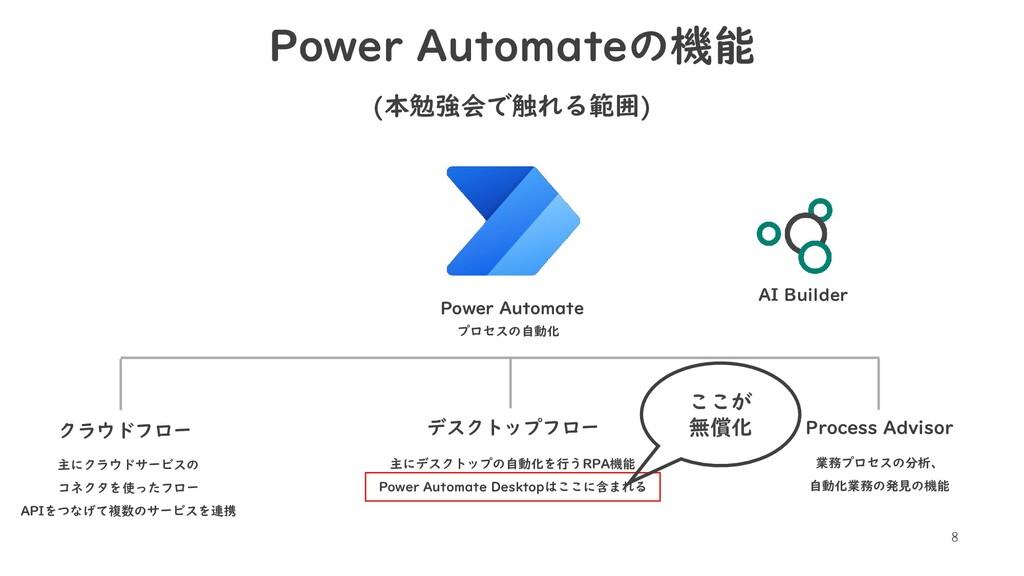 8 Power Automateの機能 (本勉強会で触れる範囲) Power Automate...