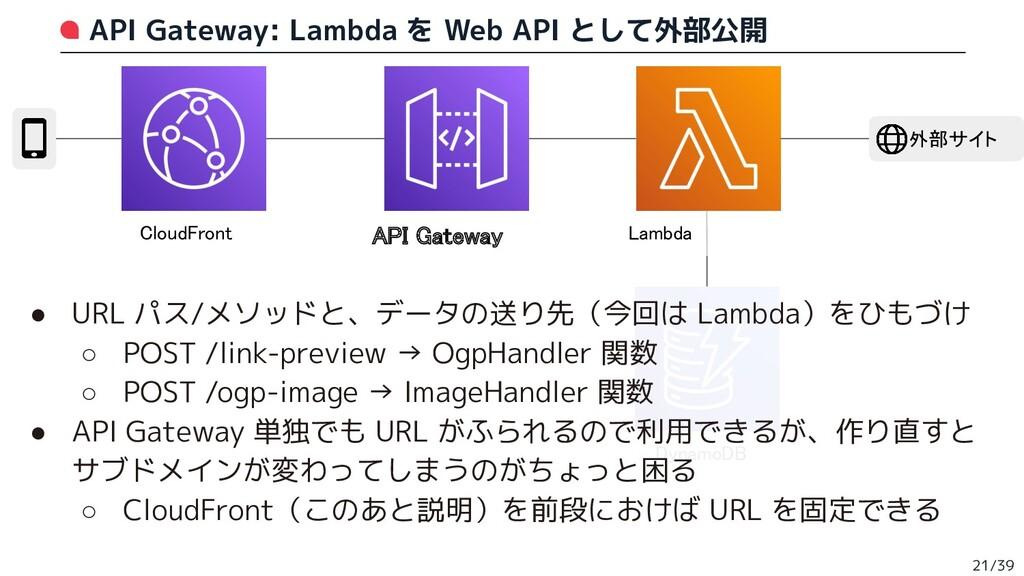 API Gateway: Lambda を Web API として外部公開 21/39 Clo...