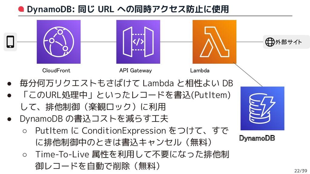 DynamoDB: 同じ URL への同時アクセス防止に使用 22/39 CloudFront...