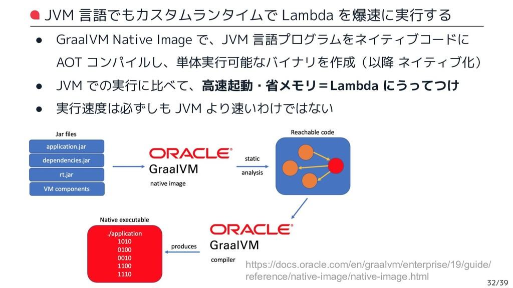 JVM 言語でもカスタムランタイムで Lambda を爆速に実行する ● GraalVM Na...