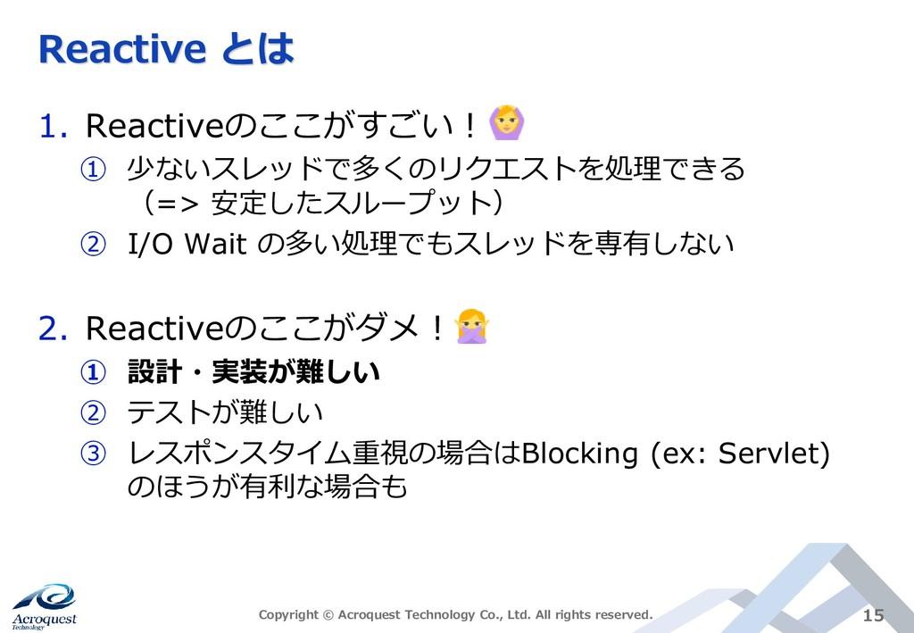 Reactive とは 1. Reactiveのここがすごい! ① 少ないスレッドで多くのリク...