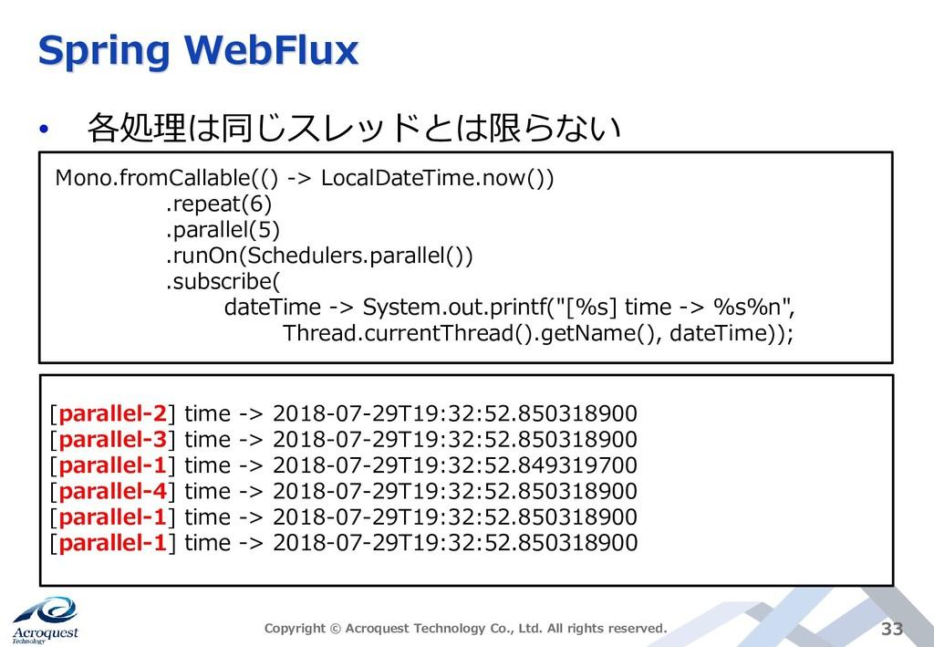 Spring WebFlux • 各処理は同じスレッドとは限らない Copyright © A...