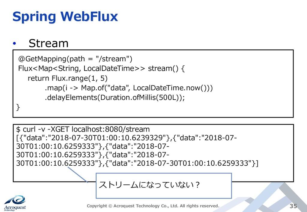 Spring WebFlux • Stream Copyright © Acroquest T...