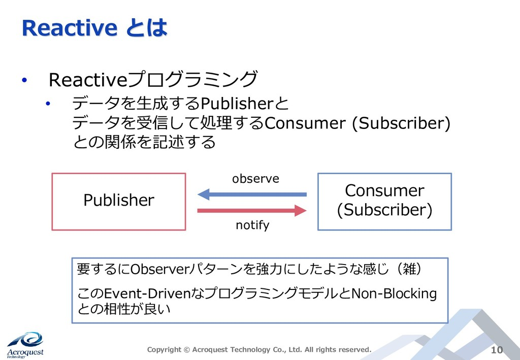 Reactive とは • Reactiveプログラミング • データを生成するPublish...