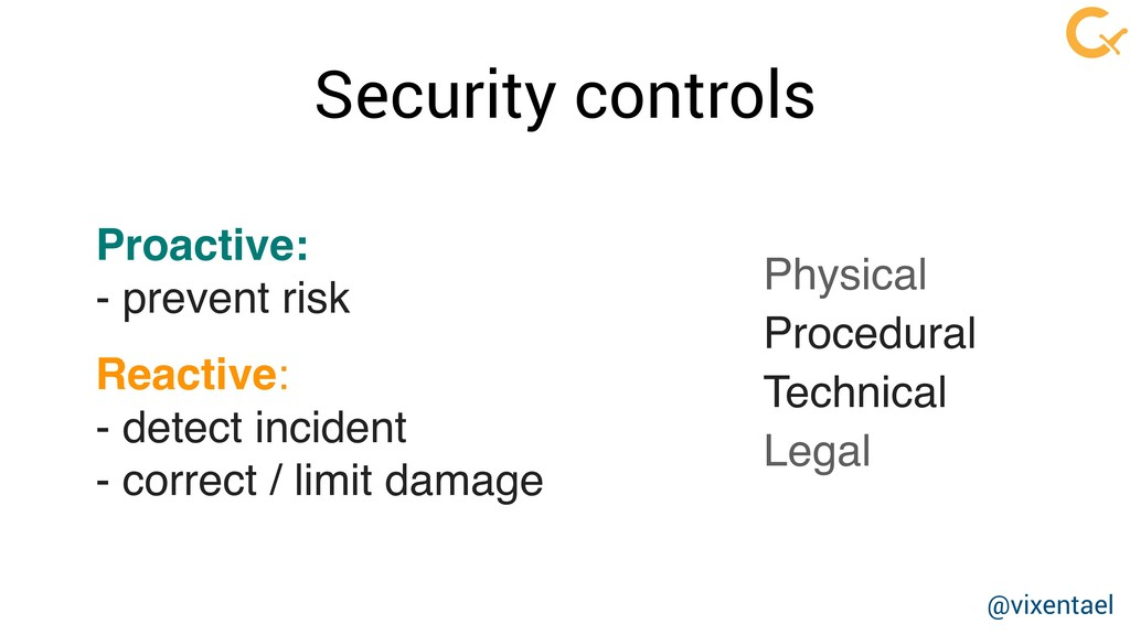 Security controls Proactive: 
