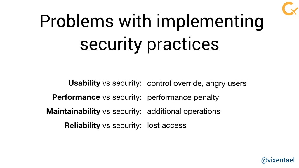 Problems with implementing security practices c...