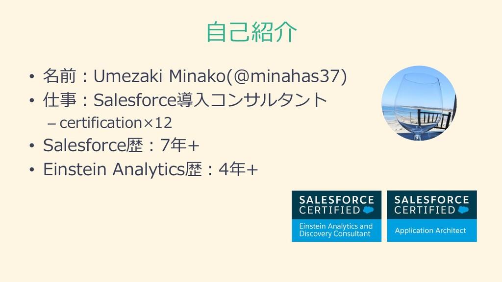 自己紹介 • 名前:Umezaki Minako(@minahas37) • 仕事:Sales...