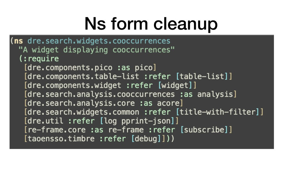Ns form cleanup