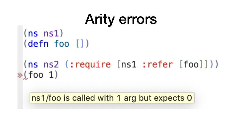 Arity errors