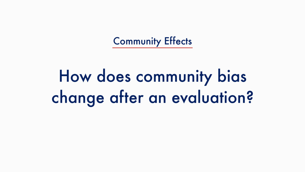 How does community bias change after an evaluat...