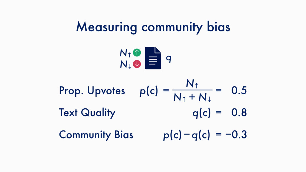 Measuring community bias N↑ q N↓ N↑