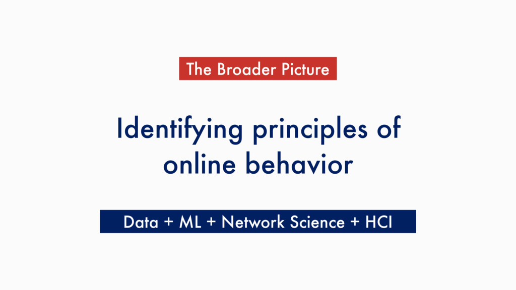 Identifying principles of online behavior The B...