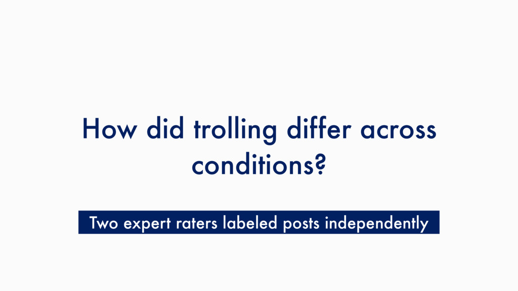 How did trolling differ across conditions? Two ...