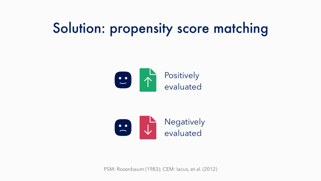 Solution: propensity score matching PSM: Rosenb...