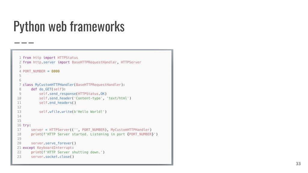 Python web frameworks 33
