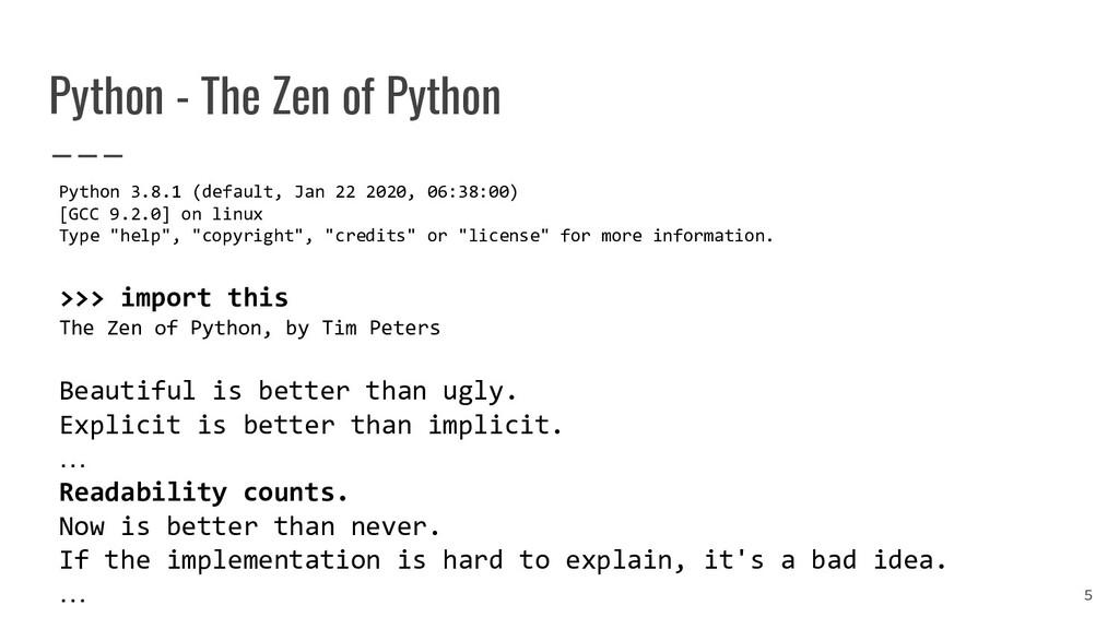 Python - The Zen of Python Python 3.8.1 (defaul...