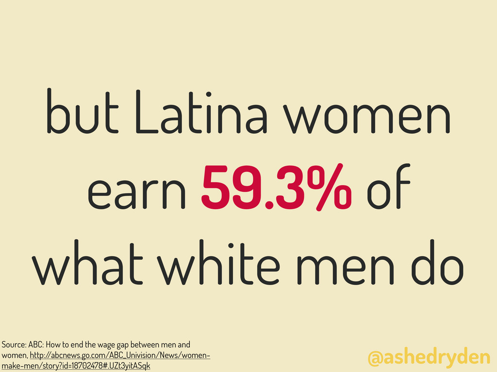 @ashedryden but Latina women earn 59.3% of what...