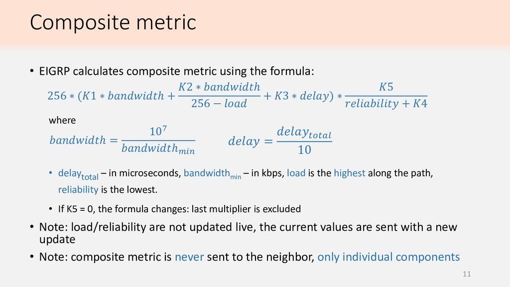 Composite metric 11 • EIGRP calculates composit...