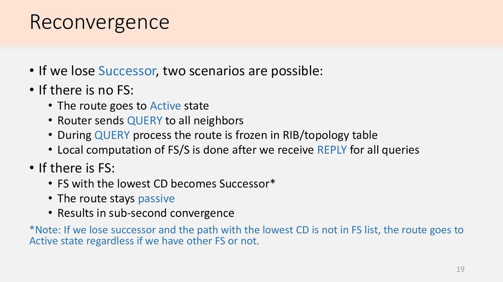 Reconvergence 19 • If we lose Successor, two sc...