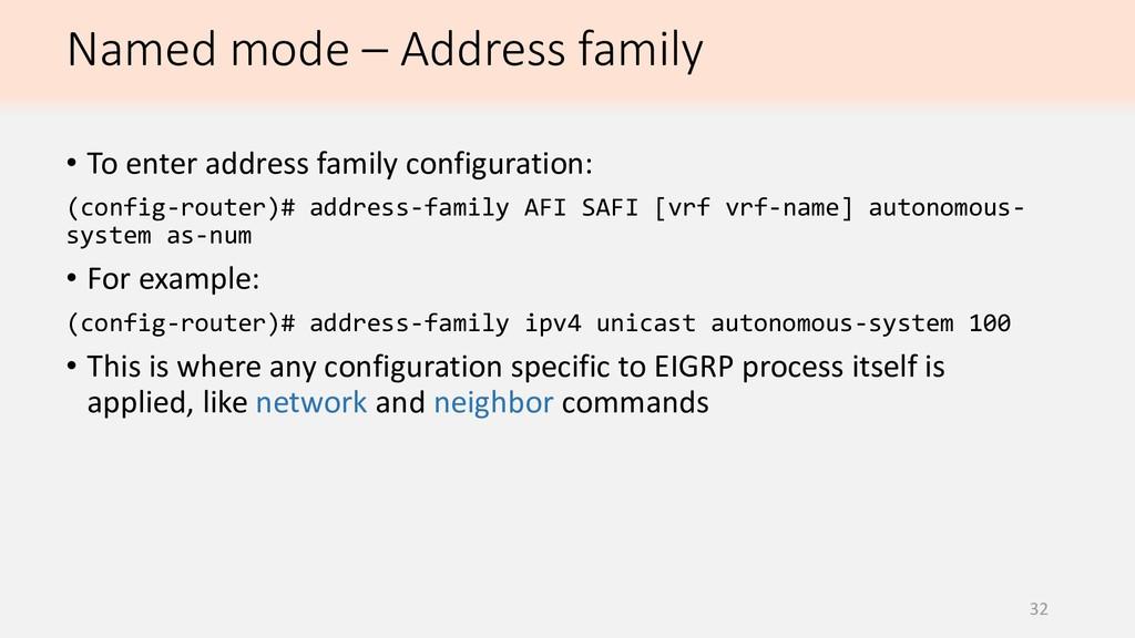 Named mode – Address family 32 • To enter addre...