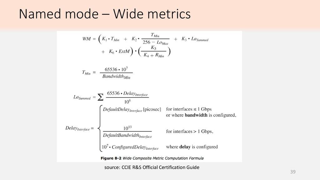 39 Named mode – Wide metrics source: CCIE R&S O...