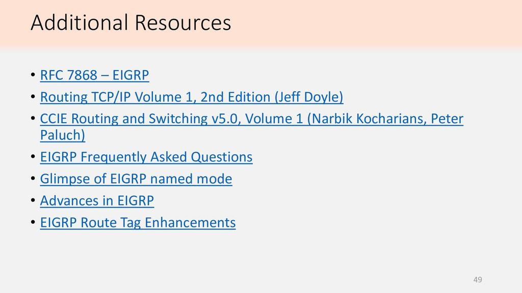 49 • RFC 7868 – EIGRP • Routing TCP/IP Volume 1...