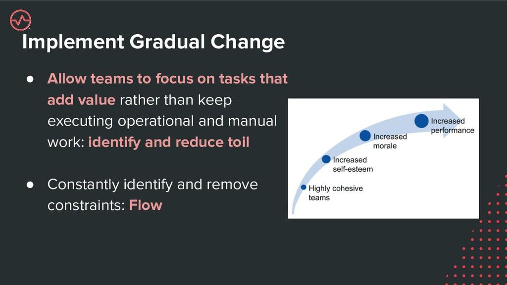 Implement Gradual Change ● Allow teams to focus...