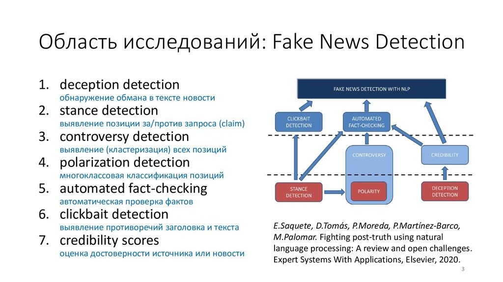 Область исследований: Fake News Detection 3 E.S...