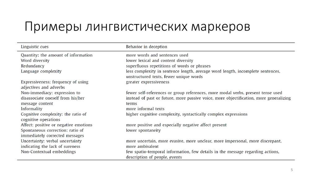 Примеры лингвистических маркеров 5