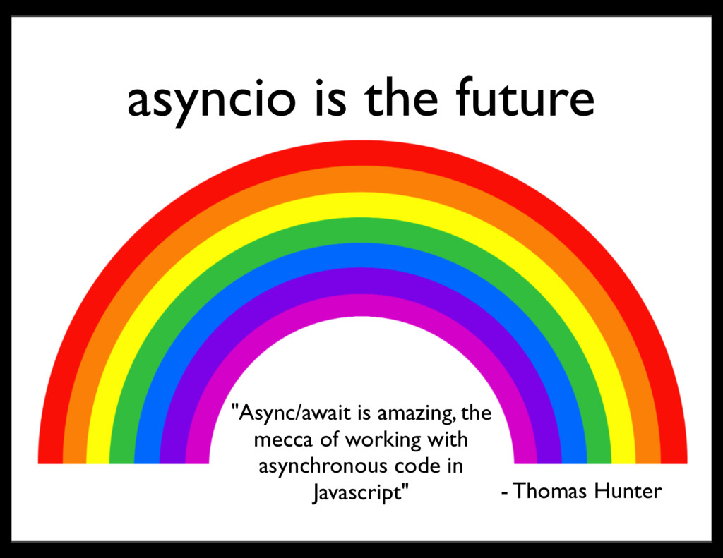 "asyncio is the future ""Async/await is amazing, ..."