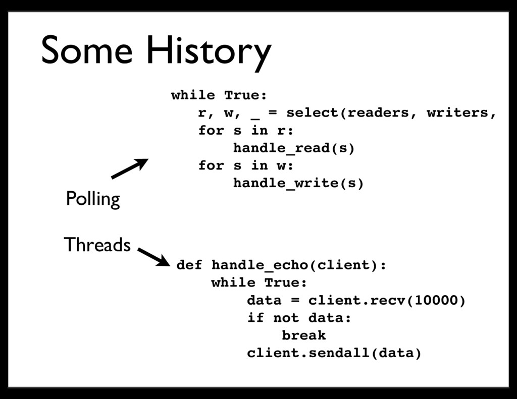 Some History Threads Polling def handle_echo(cl...