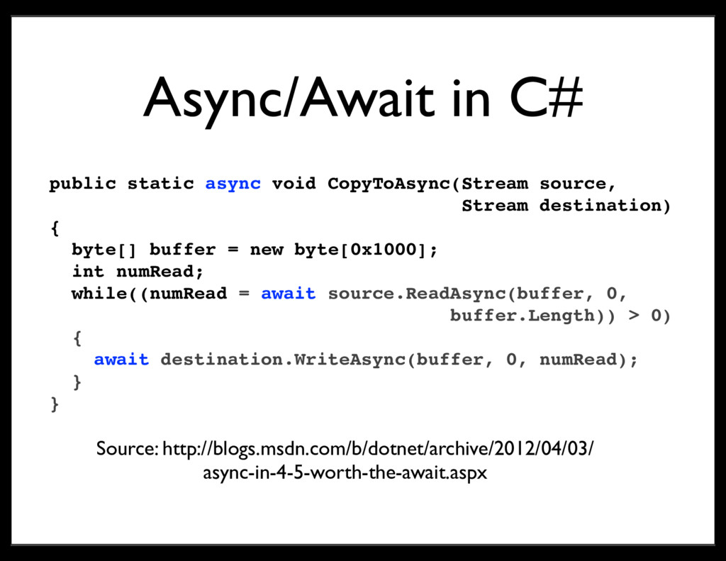 Async/Await in C# public static async void Copy...