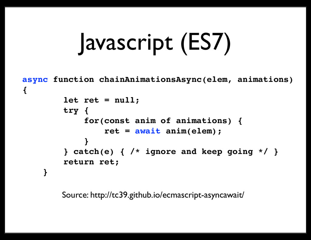 Javascript (ES7) async function chainAnimations...