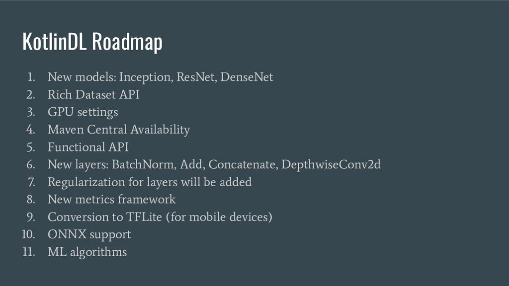 KotlinDL Roadmap 1. New models: Inception, ResN...