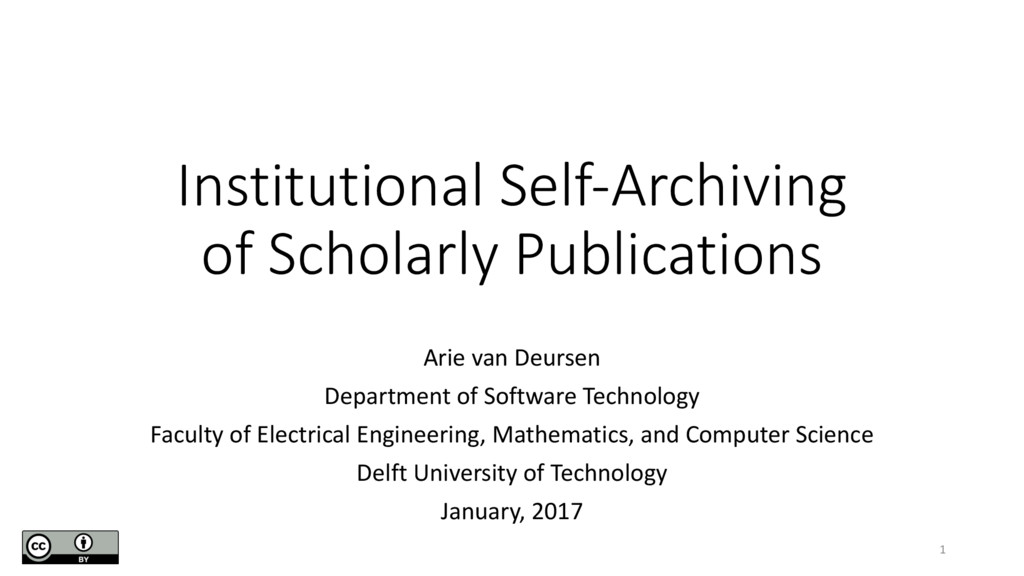 Institutional Self-Archiving of Scholarly Publi...