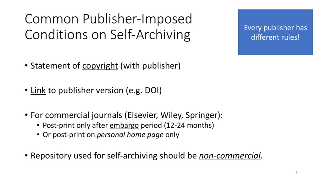 Common Publisher-Imposed Conditions on Self-Arc...