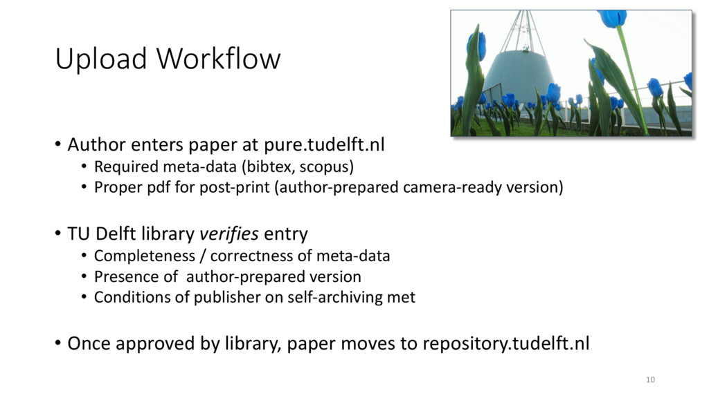Upload Workflow • Author enters paper at pure.t...