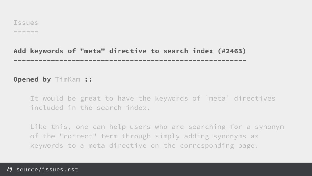 """Issues ====== Add keywords of """"meta"""" directive ..."""